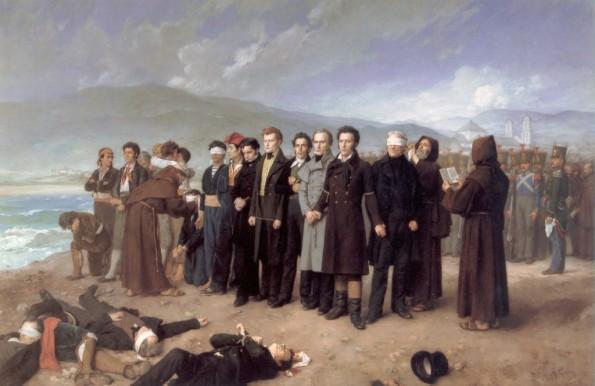 Fusilamiento de Torrijos y sus amigos. Antonio Gisbert Pérez, 1888. Museo del Prado.