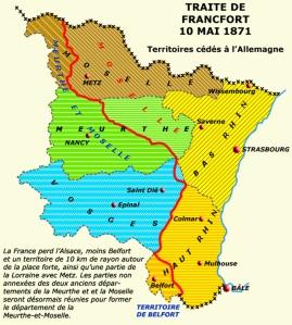 Frontera entre Francia y Alemania tras el Tratado de Fráncfort en 1871. Fuente: http://www.encyclopedie.bseditions.fr